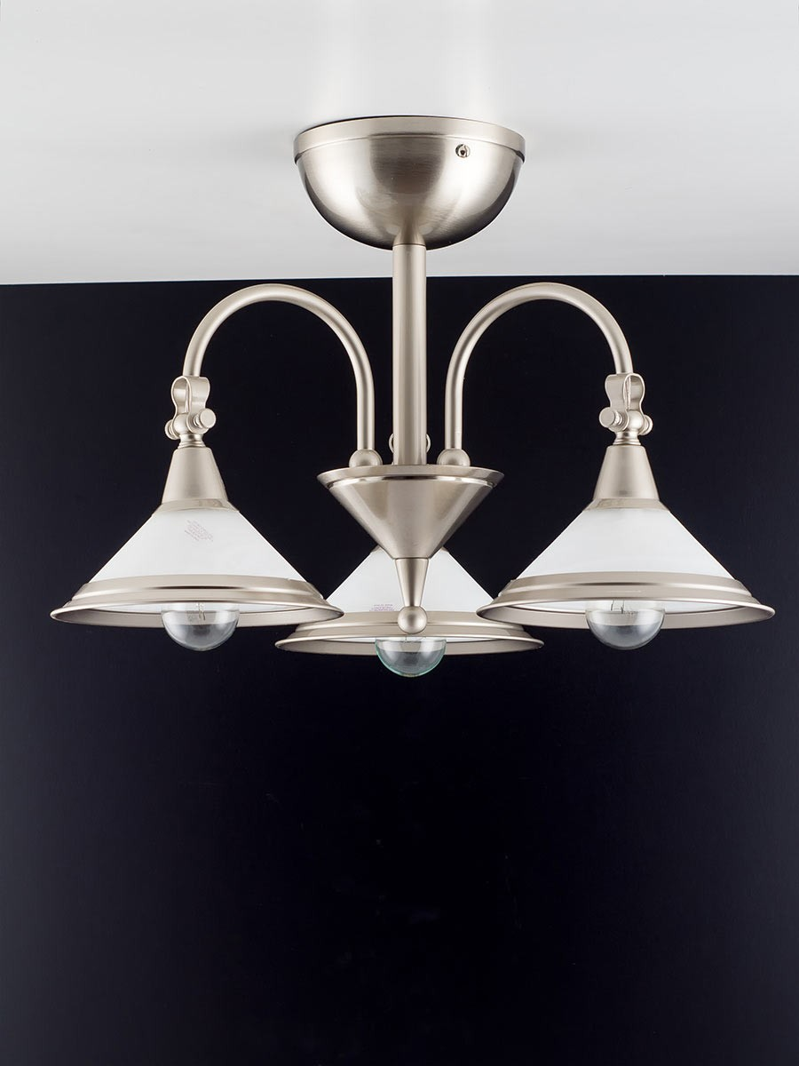 Deckenleuchte 184221-NI modern, echt Messing, Nickel matt, Serie 4.22 ''Velden''