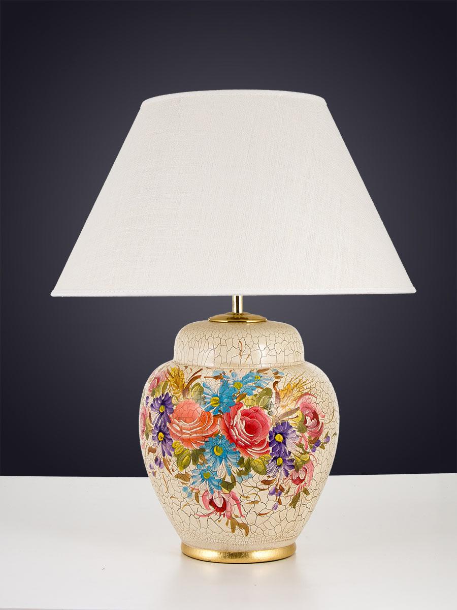 477016 tischlampe keramik dekor bunt handbemalt helios leuchten - Keramik tischleuchte ...