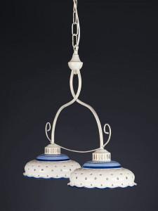 Pendelleuchte 207142 antikweiss | Keramik weiss-blau | Serie 7.14 ''Little blau''