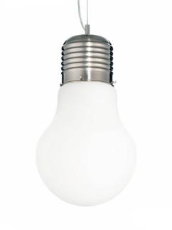 Pendelleuchte Luce Bianco SP1 big | Nickel matt | Glas weiss