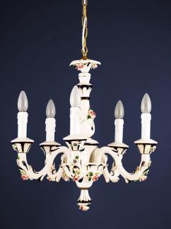 Lüster 264552 5-flammig Keramik cobaltblau handbemalt Serie 4.55 ''Sabrina''