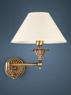 Wandleuchte Bridgelampe 303796 echt Messing antik | Schirm pastell-gelb | Serie 3.79 ''Kent''