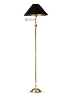 Stehleuchte Bridgelampe 503774-3 echt Messing antik | Schirm schwarz-gold | Serie 3.77 ''London''