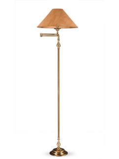 Stehleuchte Bridgelampe 503774-4 echt Messing antik | Schirm echter Kork | Serie 3.77 ''London''